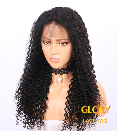 Best Deep Curly Glueless Full Lace Wigs Peruvian Human Hair 20inch