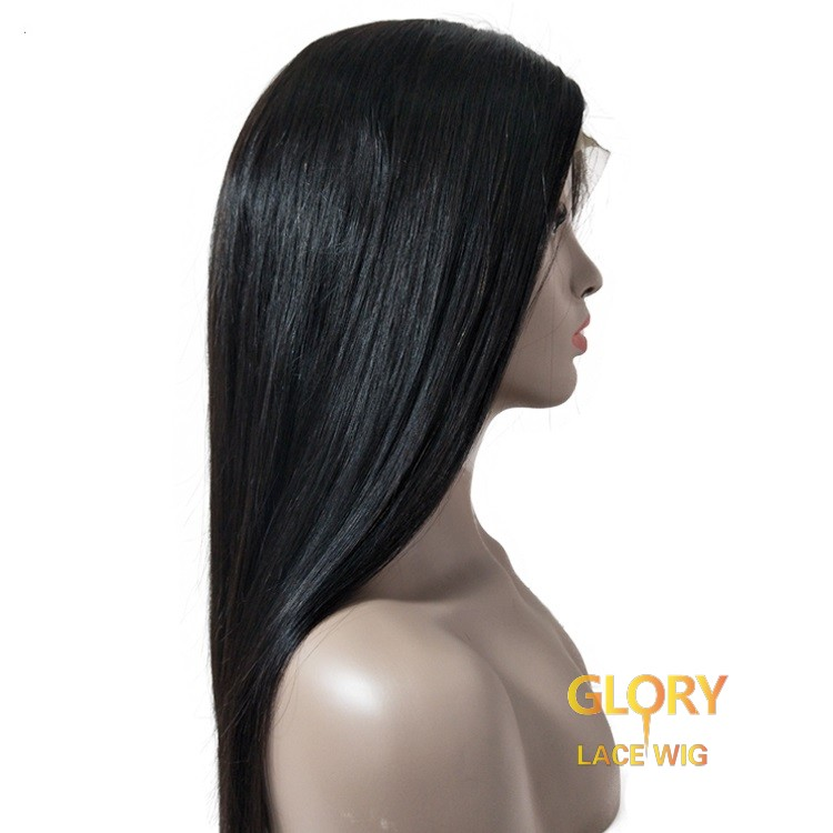 Cheap Human Hair 180% Density Glueless Straight Lace Front Wigs Pre Plucked Hairline 24inch