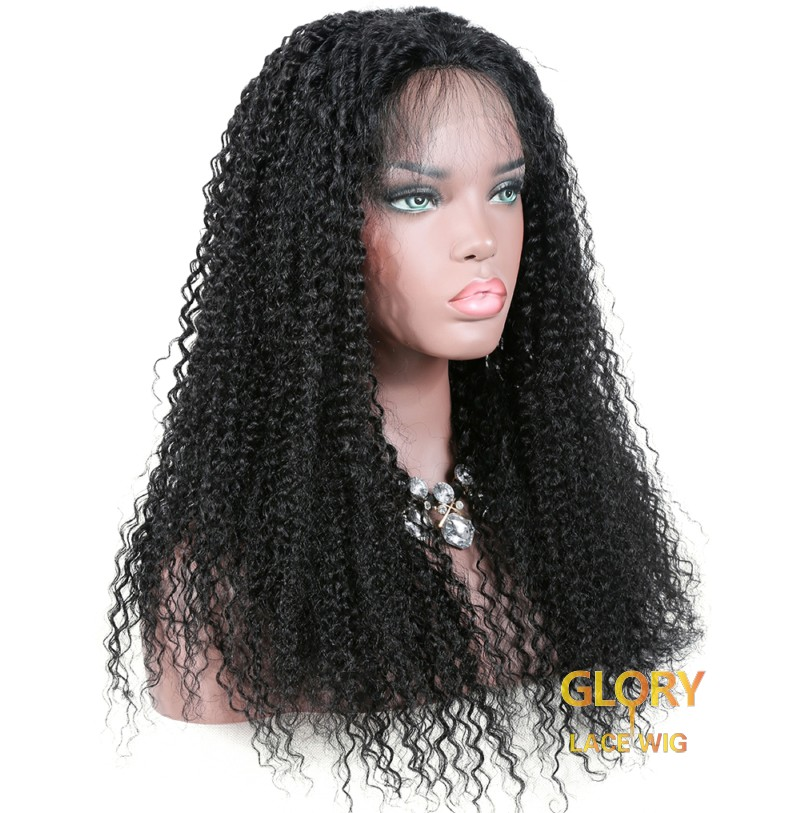 180% Density Cheap Kinky Curly Malaysian Full Lace Wigs For Black Women 20inch