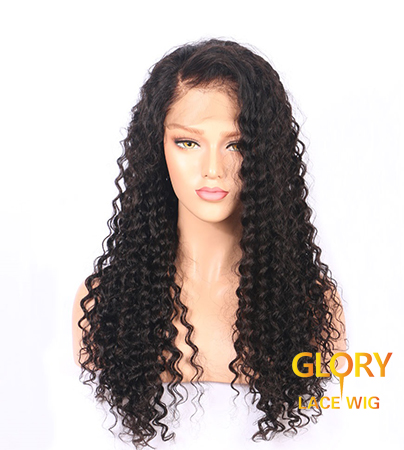 Cheap Peruvian Virgin Hair Glueless Deep Curly Lace Front Wigs For Black Women 22inch