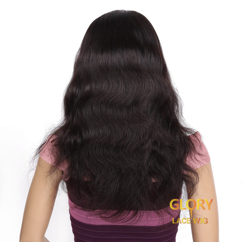 Indian Virgin Hair Body Wave Full Lace Wigs Pre Plucked Hairline 16inch