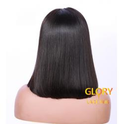 Bob Brazilian Virgin Hair Straight Full Lace Wigs Pre Plucked Hairline 14inch