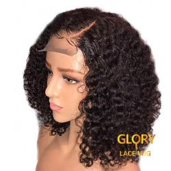 Wholesale 180% Density Peruvian Virgin Hair Bob Africa Curly Full Lace Wigs For Black Women 14inch