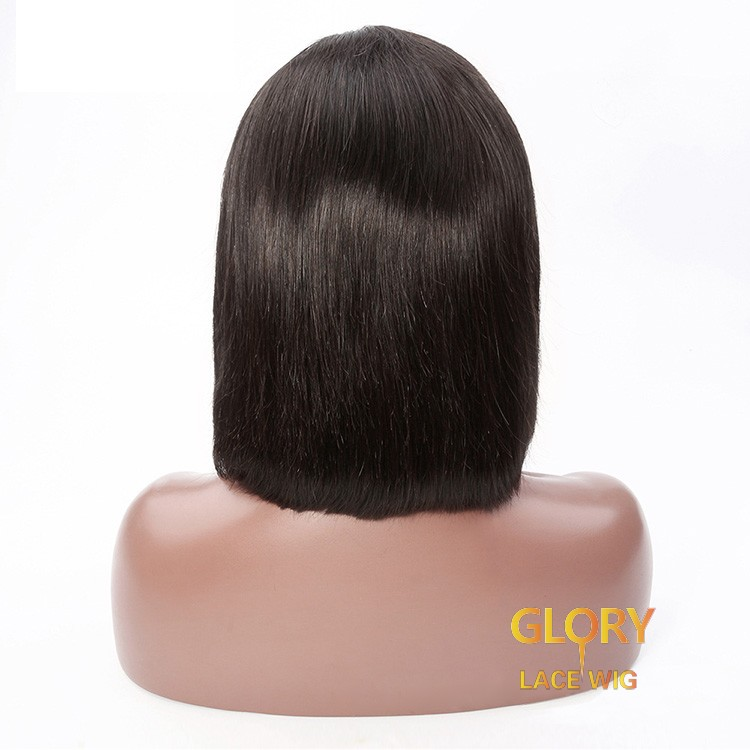 Malaysian Bob Straight Lace Front Wig For Black Woman 10inch