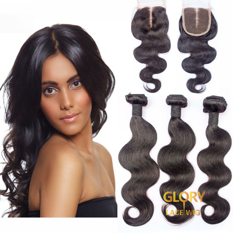 Beautiful Body Wave Hair Bundles 3 Bundles With 1 Lace Closure 4x4 16inch