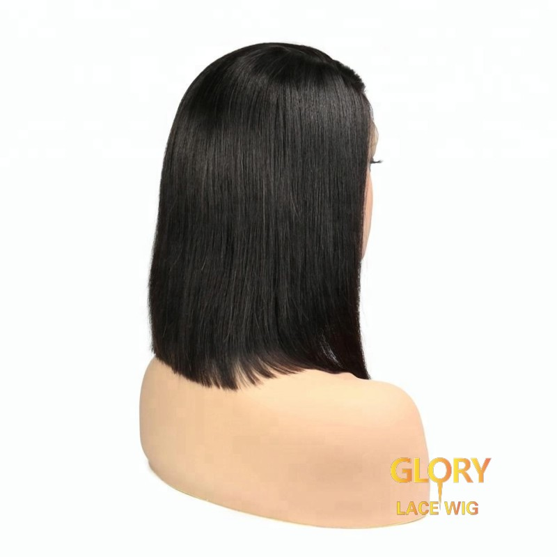Bob Indian Virgin Hair Pre Plucked Straight Lace Front Wig 10inch