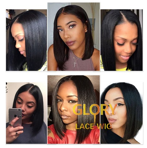 Wholesale Bob Straight Peruvian Full Lace Wigs Pre Plucked Hairline