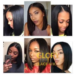 Brazilian Bob Straight Glueless Lace Front Wigs Cheap Human Hair