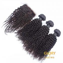 Good Quality Beautiful Kinky Curly Hair Bundles 3 Bundles With 1 Lace Closure 4x4 16inch