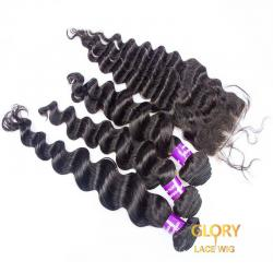 Wholesale Beautiful Malaysian Virgin Loose Wave Hair Bundles 3 Bundles With 1 Lace Closure 4x4 16inch