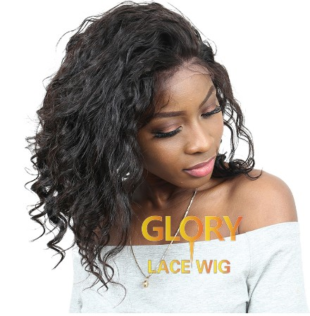 Beautiful Good Quality Natural Wave Brazilian Human Hair Full Lace Wigs 16inch