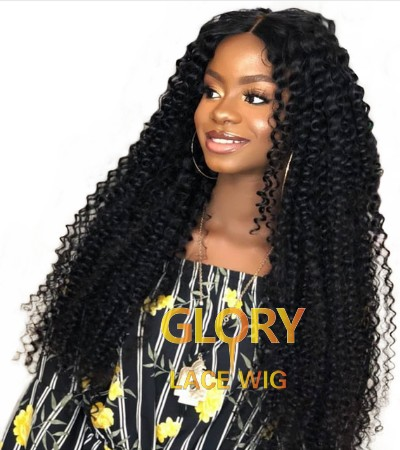 Beautiful Natural Color Kinky Curly 360 Lace Wigs For Black Women 22inch 180% Density