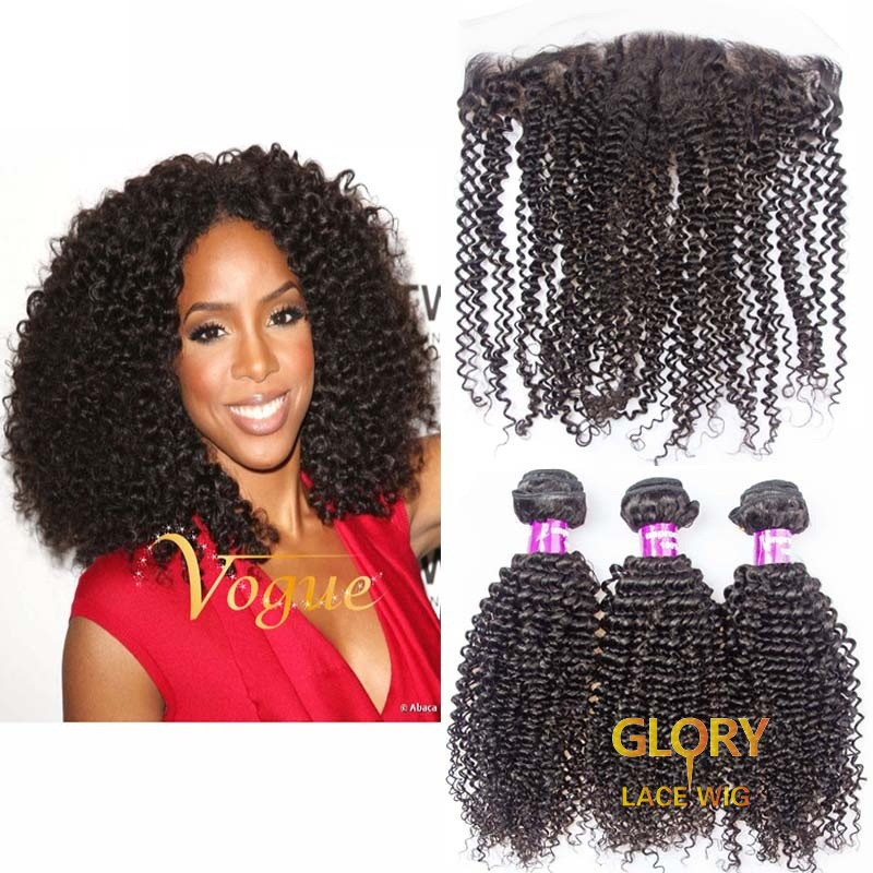 Best Brazilian Virgin Kinky Curly Hair 3 Bundles With Lace Frontal 13x4 16inch