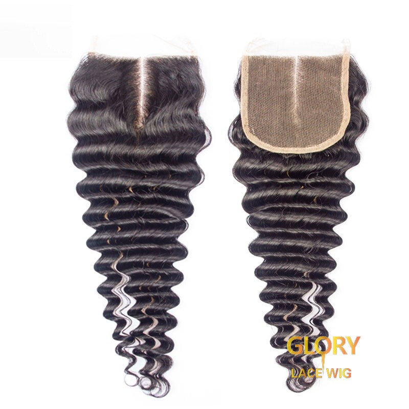 Deep Wave Lace Closure Malaysian Hair 14inch