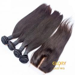 Good Quality Malaysian Virgin Straight Hair Bundles 4 Bundles With 1 Lace Closure 4x4 16inch