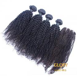 Wholesale Beautiful Brazilian Virgin Kinky Curly Hair Bundles 4 Bundles With 1 Lace Closure 4x4 16inch