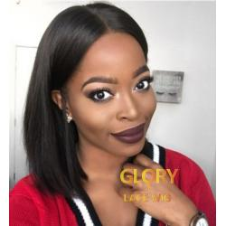 Glueless Brazilian Human Bob Straight Full Lace Wigs Pre Plucked Hairline 10inch 130% Density