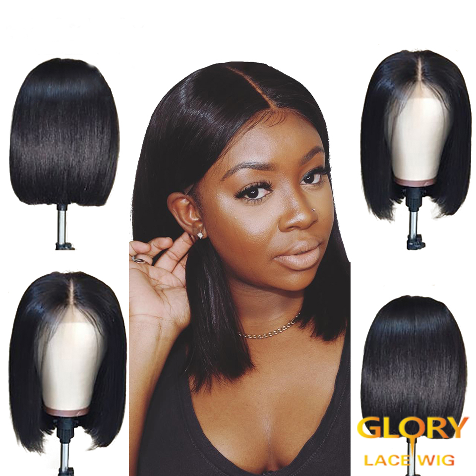 Malaysian Bob Straight Glueless Full Lace Wigs Pre Plucked Hairline 10inch