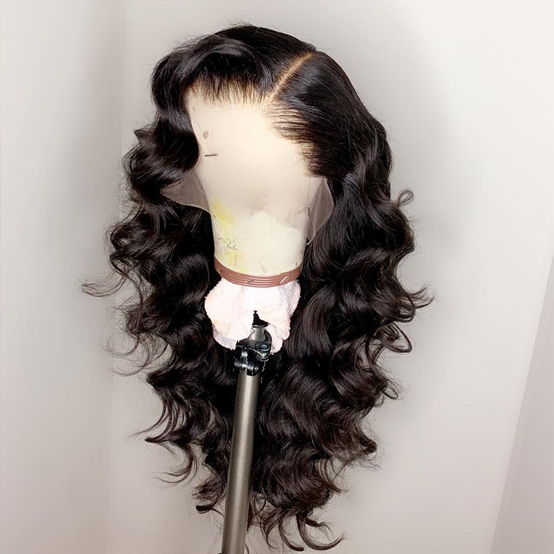 Best Glueless Loose Wave Brazilian Human Hair 360 Lace Wigs Pre Plucked Hairline 20inch