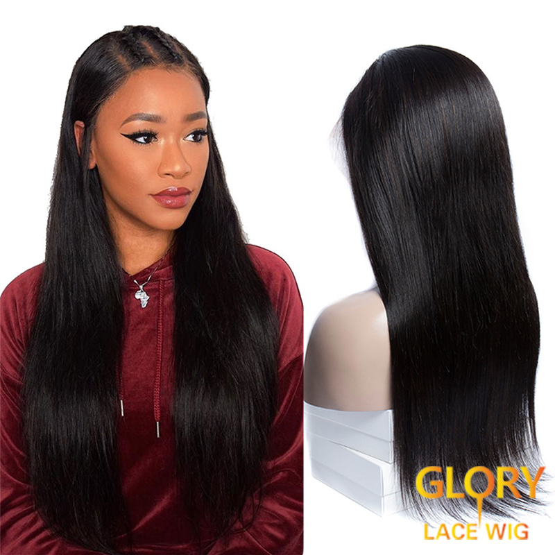 Straight Peruvian Virgin Hair Full Lace Wigs with baby hair 18inch