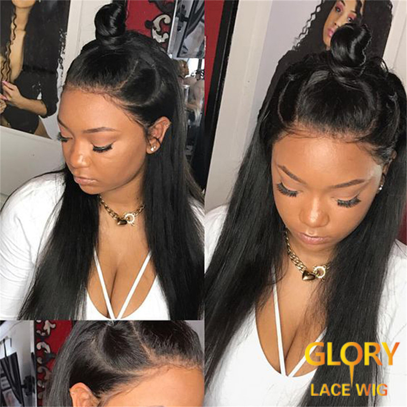 Wholesale glueless Straight Brazilian Full Lace Wigs with Baby Hair 20inch Pre Plucked