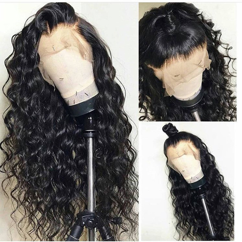 Deep Loose Wave Brazilian Virgin Human Hair Wig Pre Plucked With Baby Hair  lace front wig 18inch