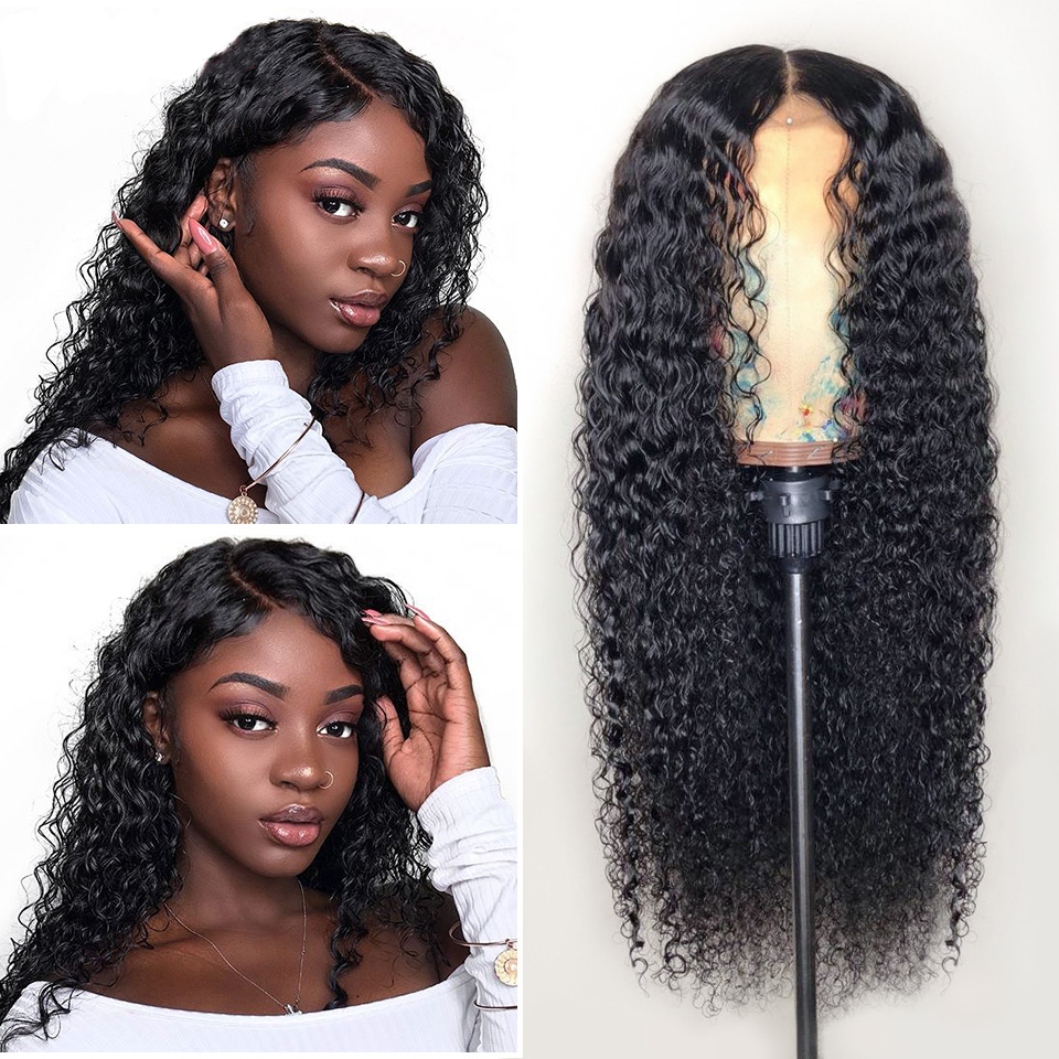 Best Glueless Deep Curly Malaysian Virgin Hair Lace Front Wigs For Black Women 22inch
