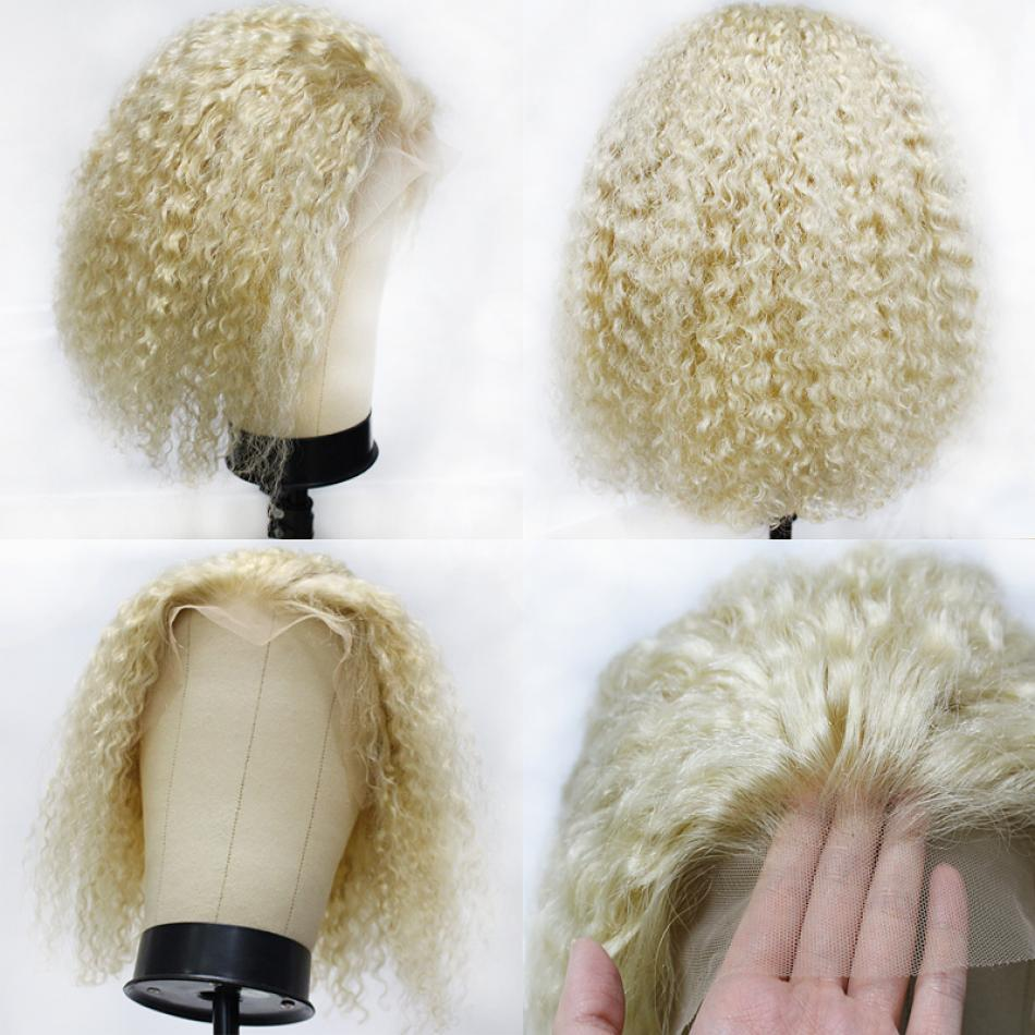 613 Blonde Short Blunt Cut Bob Lace Front Human Hair Curly Wig Brazilian Remy Transparent Invisible Lace Frontal Wig