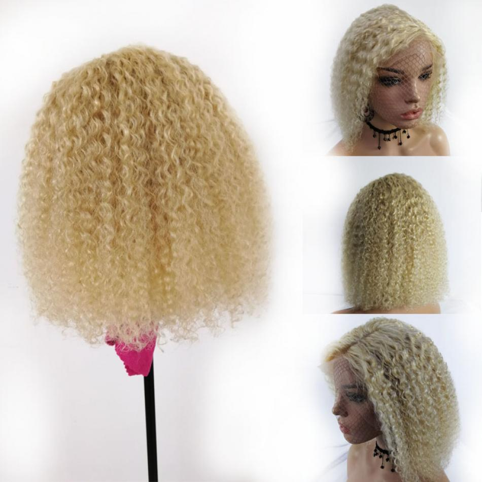 Short Jery Curl Bob 613 Blonde Lace Front Wig Colored Human Hair Wigs Deep Brazilian Remy Hair Blunt Cut Wigs