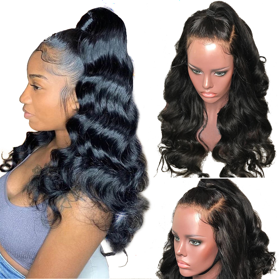 Wholesale Glueless Full Lace Wigs Indian Body Wave Human Hair Wig 16inch