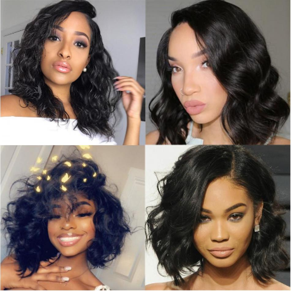 Brazilian Virgin Hair Bob Natural Wave Full Lace Wigs 10inch