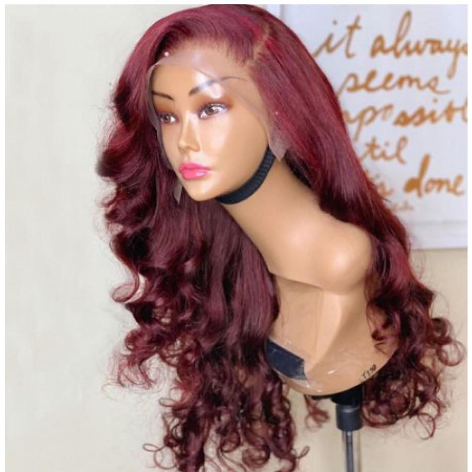 13x6 Body Wave 99J Colored Lace Front Human Hair Wigs