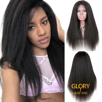 180% Density Kinky Straight Mongolian Virgin Hair Glueless Full Lace Wigs 20inch