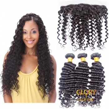 Wholesale Good Quality Deep Wave Brazilian Human Hair 3 Bundles With Lace Frontal 13x4 16inch